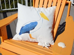Blue Pelican Handpainted Outdoor Pillow