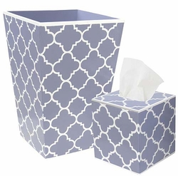 Blue Quatrefoil Bath Set <font color=cf2317> Discontinued</font>
