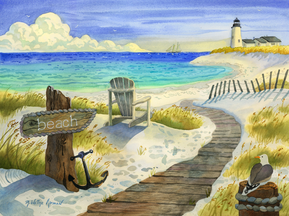 Boardwalk To The Lighthouse Beach Art Print For Sale