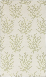 Boardwalk White & Green Coral Flat Pile Rug