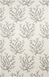 Boardwalk White/Light Gray Coral Flat Pile Rug