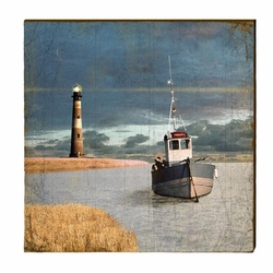 Boat and Light Beach Wall Art