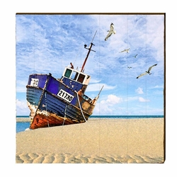 Boat on Shore Beach Wall Art