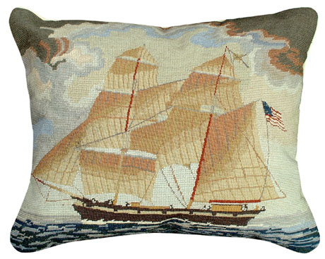 Brig Georgiana Needlepoint Pillow For Sale Cottage
