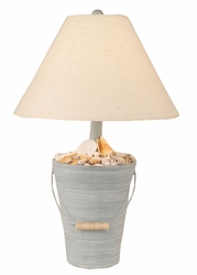 Bucket of Shells Lamp in Weathered Seamist