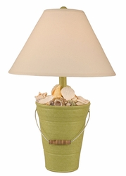 Bucket of Shells Lamp in Key Lime