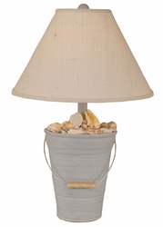 Bucket of Shells Lamp in Weathered Blue