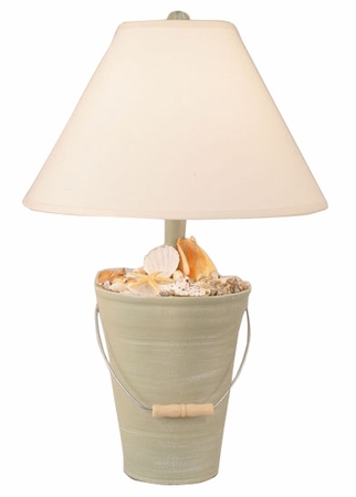 Bucket of Shells Lamp in Weathered Sage