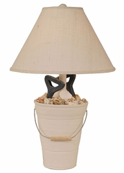 Bucket of Shells with Shovel Handles Lamp