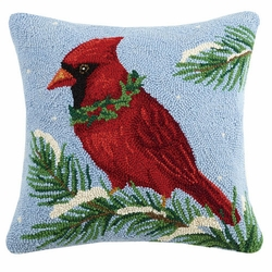 Cardinal with Holly Hooked Pillow