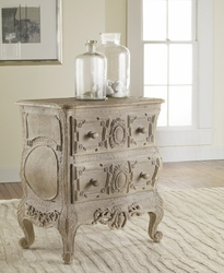 Carved French Bow Nightchest in Weathered Solids <font color=cf2317>Discontinued</font>