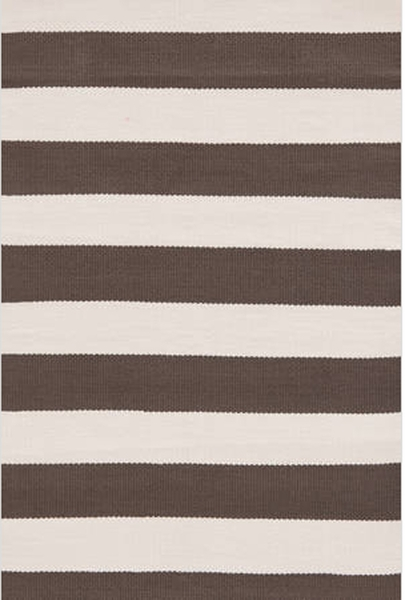 Dash and Albert Catamaran Stripe Charcoal and Ivory Indoor/Outdoor