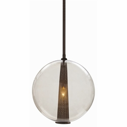 Caviar Large Brown Nickel/Smoke Glass Pendant Light