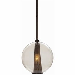 Caviar Medium Brown Nickel/Smoke Glass Pendant Light