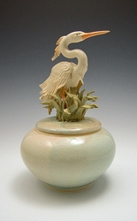 Ceramic Heron Covered Jar Glazed