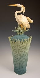 Ceramic Heron Covered Vase - Limited Edition