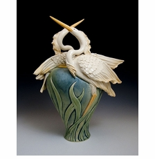 Ceramic Limited Edition Two Flying Herons Vase