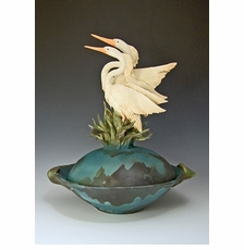 Ceramic Two Herons Bowl - Limited Edition
