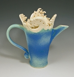 Ceramic Wave Rim Chocolate Pot