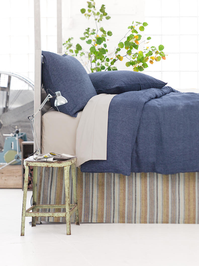 Chambray ink navy duvet cover cottage bungalow