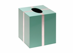 Chiffany Lacquered Tissue Box in Blue and Silver