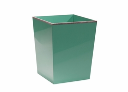 Chiffany Lacquered Wastebin in Blue and Silver