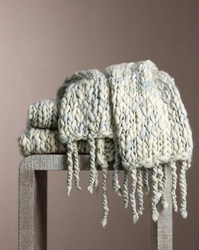 Chunky Knit Sea Mist Throw  <font color=a8bb35> NEW</font>