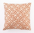 Circle Link Linen Embroidered Pillow - Orange