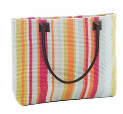 Clara Stripe Woven Cotton Beach Tote<font color=a8bb35> NEW</font>