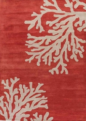 Coastal Seaside Coral Tufted Rug