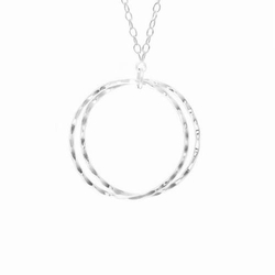 Compass Curve Silver Pendant Necklace