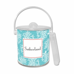 Coral Repeat Teal Ice Bucket