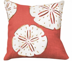 Coral Sand Dollar Beaded Indoor Pillow