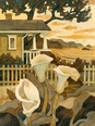 Craftsman Cottage By The Sea Beach Print