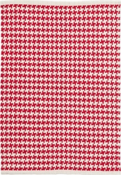 Checks Red Cotton Rug