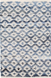 Denim Rag Diamond Ivory Cotton Rug
