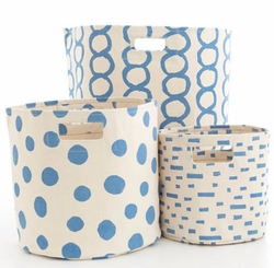 French Blue Hamper/Bin in 3 Sizes