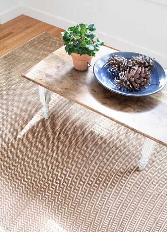 Dash And Albert Herringbone Stone Woven Cotton Rug For Cottage Bungalow
