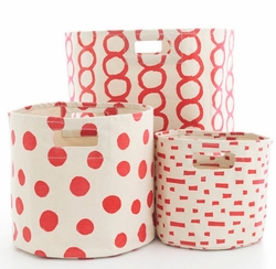 Red Hamper/Bin in 3 Sizes