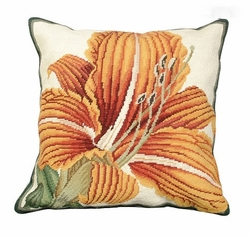 Day Lily Needlepoint Pillow