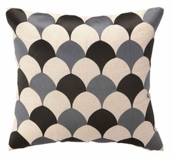 Deco Scales Embroidered Pillow - Graphite