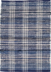 Denim Plaid Cotton Woven Rug