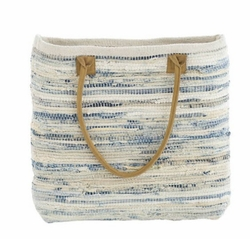 Denim Rag Woven Beach Tote<font color=a8bb35> 20% OFF</font>