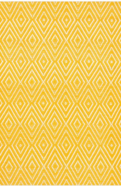Dash and Albert Diamond Canary and White Indoor/Outdoor Rug