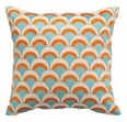 Double Arches Pumpkin/Turquoise Embroidered Pillow