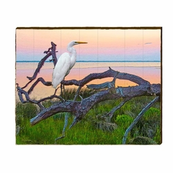 Egret Sunset Branch Beach Wall Art