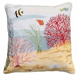 Coral Reef Needlepoint Left Pillow