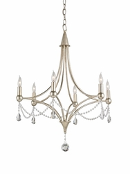 Etiquette Chandelier in Antique Silver Leaf