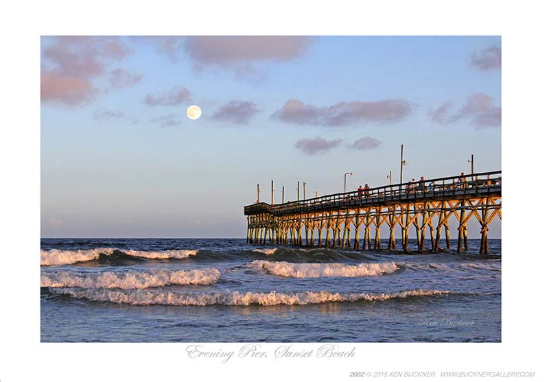 Evening Pier At Sunset Giclee Beach Print For Sale