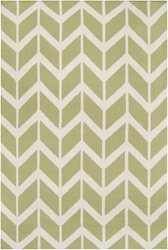 Fallon Winter White/Light Lime Chevron Flat Pile Rug